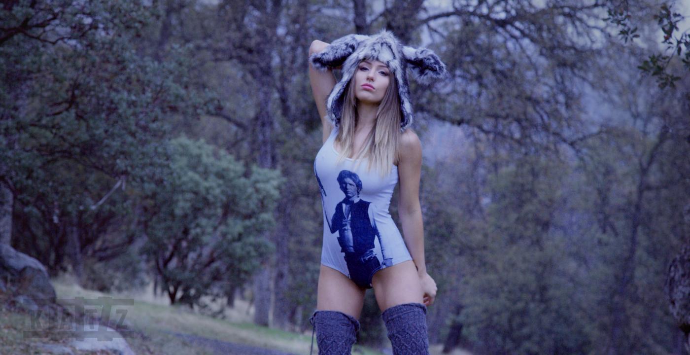 Liz Katz is Jack Rabbit Slims in her her Black Milk Han Solo swim suit while wearing her fluffy Jack rabbit hat
