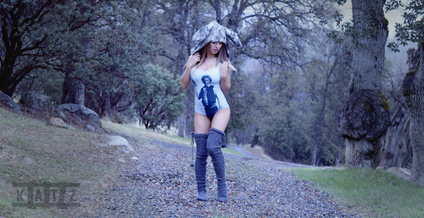 Liz Katz is Jack Rabbit Slims in her Black Milk Han Solo swim suit while wearing her fluffy Jack rabbit hat