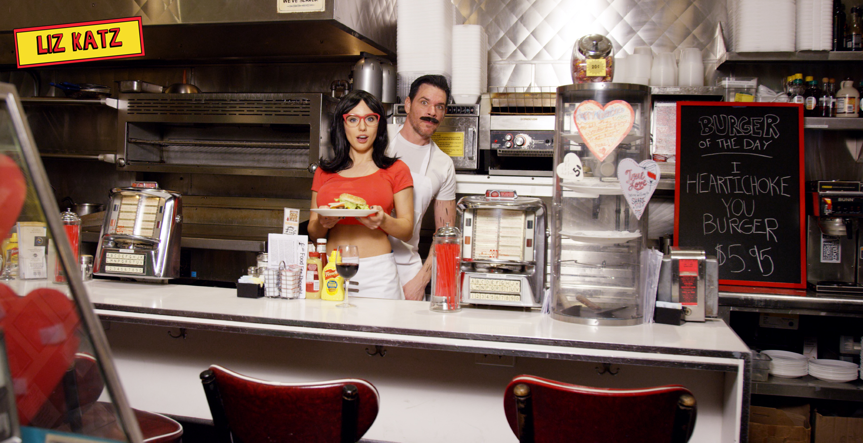 Bob's Burgers Cosplay with Liz Katz and Linda Belcher and Sam Macaroni as Bob